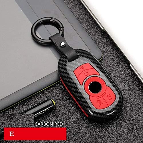 QND,Cubierta de la Llave del Coche,Fibra de Carbono ABS Car Remote Smart Key Case Cover Key Holder para Opel Astra Buick Encore Envision Nuevo Lacrosse VELITE5 GL8, E Carbon Red
