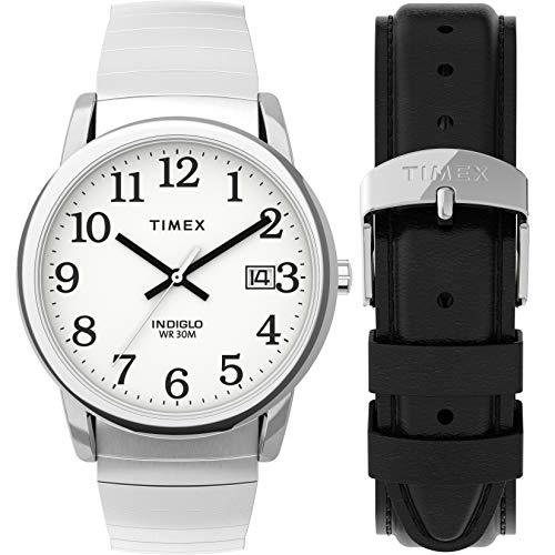 Timex reloj pulsera para hombre, con aumento en la ventanilla de la fecha, de fácil lectura.