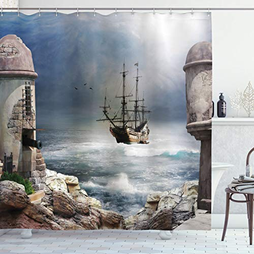 """Ambesonne Sailboat Shower Curtain, Pirate Merchant Shipnchored in The Bay of Fortbandoned Rockst Shore, Cloth Fabric Bathroom Decor Set with Hooks, 70"""" Long, Blue Grey"""