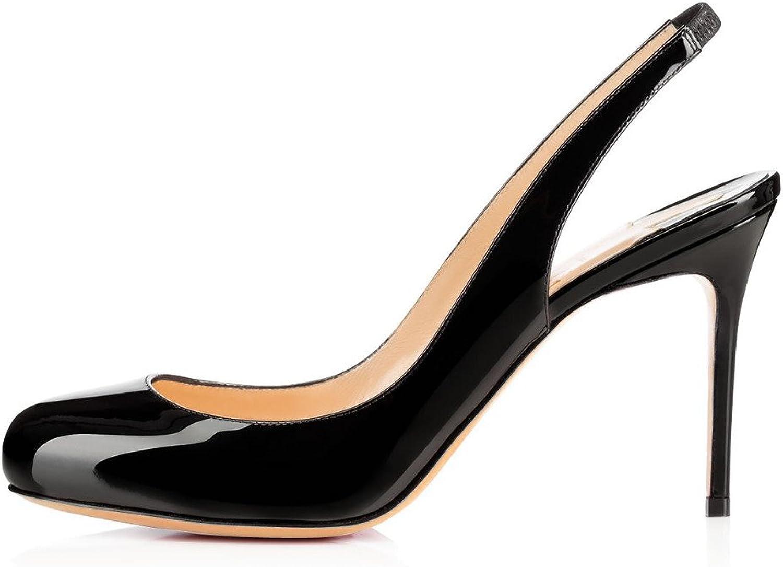 Sammitop Women's Round Toe 80mm High Heel Pumps Ladies Mid-Heel Slingback Evening shoes