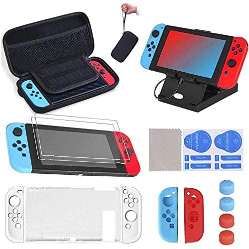 16 en 1 Kit de Accesorios para Nintendo Switch, Funda para Nintendo Switch con 10 Cartucho de Juego | Carcasa de Silicona y Plastico | Protector de Pantalla | Tapas para Joystick | Soporte Ajustable