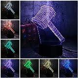 lámpara de ilusión 3D Luz de Noche Martillo de Thor luz nocturna remoto para sala de estar, bar, regalo juguetes para niños y niñas Con interfaz USB, cambio de color colorido