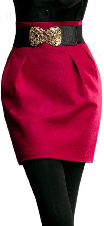 ITOPAI Women Winter Solid color High Waist Woolen Skirt With Belt