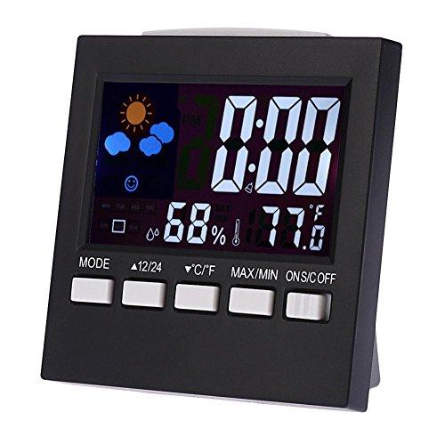 Demiawaking Réveil numérique Station météo hygromètre Intérieur extérieur avec température et humidité Snooze Date Jour LCD Rétroéclairage