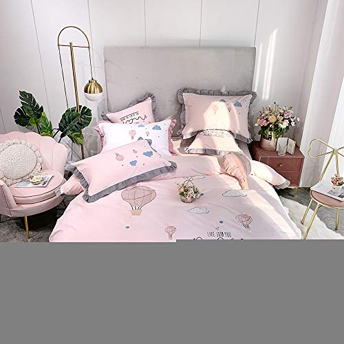 Duvet Cover Sets,Brushed Pure Cotton Four-piece Cotton Autumn and Winter Pastoral Style Embroidery Bed Linen Quilt Cover Bedding Set Stylish and comfortable