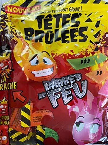 Tetes Brulees Barres de Feu Extra Saure Bonbons Challenge Tüte mit den Sondersorten Maracuja Rote Früchte, Apfel Kirsch Level Ca Arrache