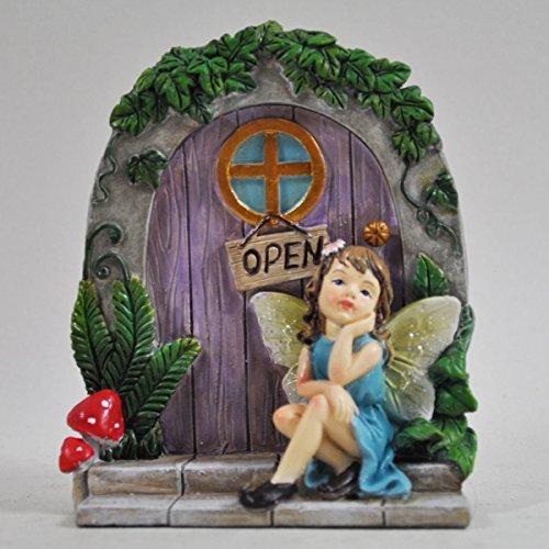 Prezents.com Figurine de fée et arbre de jardin pour décoration de maison – Petite robe de lutin bleue 10 cm