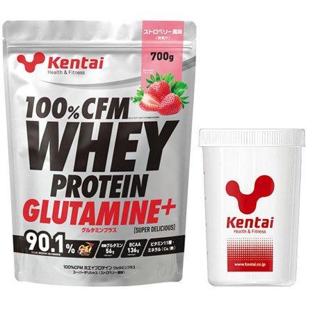 Kentai(ケンタイ) 100%CFMホエイプロテイン グルタミンプラス スーパーデリシャス(ストロベリー風味)+Kentaiプロテインシェーカーセット K222-K005