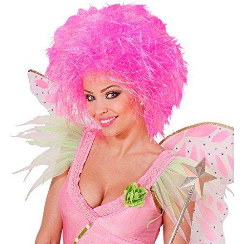 Amakando Perruque Femme fée Elfe Flamant Cheveux ondulé Punk crinière bouclé Rose Fluo fête soirée frisée fripon Accessoire déguisement Carnaval