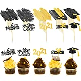 45 Pieces Black Glitter Graduation Cupcake Toppers Diploma Grad Cap Congrats Toppers You Did It and Done Congrats Grad Cupcake Toppers for Graduation Party Supplies