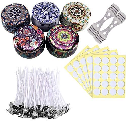 DIY Duftkerzenherstellungs-Set mit 100 vorgewachsten Kerzendochten, 100 doppelseitigen Dochtaufklebern und 2 Dochthaltern (10 cm) und 5 x 50 ml Metalldosengläsern