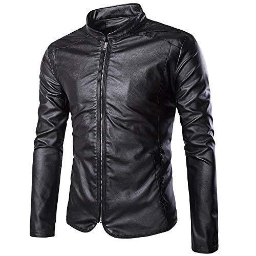 YEE Motorrad-Ledermantel, schwarz Soft Echtes Leder Vintage klassischer, Motorradjacke mit Reißverschluss,Black-M
