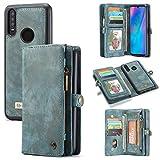 GHC Fundas & Covers para Huawei P30 Lite, a Mano Cuero de Vaca Carpeta de Cuero de la Cubierta, Zipper la Cartera Cubierta Desmontable Cubierta magnética para Huawei P30 Lite