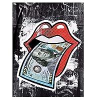 キャンバス印刷壁アートバンクシーアートストリート落書き米ドル自由の女神少女のバルーンと男の肖像画HDキャンバスの装飾のプリント  フレームレス,Banknote,60×80cm