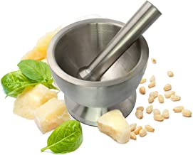 Pestle and Mortar Heavy Duty Brushed Stainless Steel Mortar and Pestle Set with Lid Spice Grinder Mixer