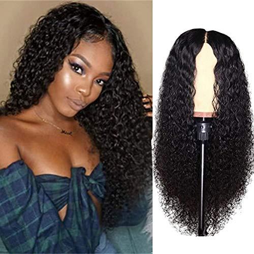 Peluca de encaje rizado con cierre de encaje brasileño rizado y frontal de encaje, 24 pulgadas, color natural, pelucas de pelo humano virgen para mujeres negras