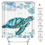 MIN-XL Duschvorhang Anti-Schimmel Textil Waschbar Anti-Bakteriel Badvorhänge 3D Wasserdicht Duschvorhänge mit 12 Edelstahl Duschvorhangringe für Badezimmer (Schildkröte, 180 x 200 cm)