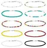 SWEET BELL 10 Pieces Seed Bead Choker Necklace for Women Hawaiian Beaded Choker Necklace Chain Jewelry Set Statement Adjustable Bead Necklace