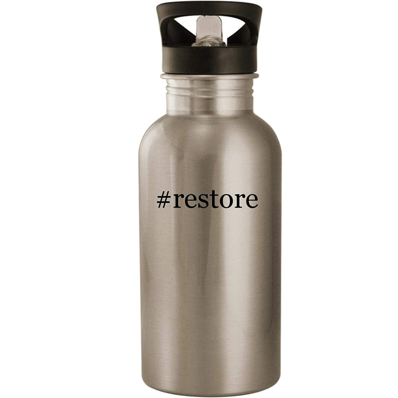 #restore - Stainless Steel Hashtag 20oz Road Ready Water Bottle, Silver