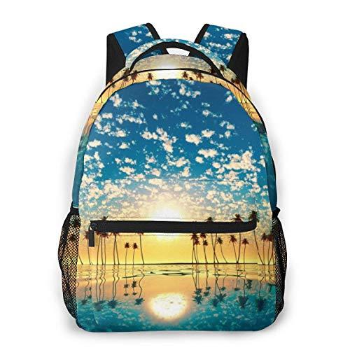 Lawenp Mochila Unisex de Moda Sunset Palm Tree Bookbag Bolsa de Ordenador portátil Ligera para Viajes Escolares Acampar al Aire Libre