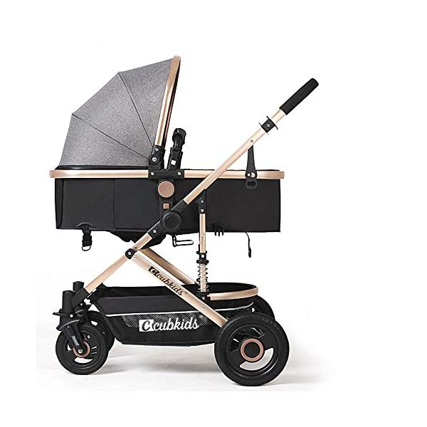 High-View Baby Stroller Can Sit Recline And Shock-Absorbing Folding Stroller One-Button Detachable Sleeping Basket, Suitable Age: 0~36 Months,Gray HHRen ✔Enlarge the loose sleeping basket to move the crib, supported by breathable wooden boards on three sides; non-inflatable rubber solid wheels, explosion-proof, anti-tie, shock-absorbing, suitable for various road conditions and easy to implement ✔The body is made of high-quality and lightweight aluminum alloy. The whole car weighs only 8.6KG. It can be easily implemented by a 2-year-old baby. The front wheel rotates 360° and the diameter is 18CM. One-button orientation/unlocking makes the implementation smoother. ✔Elaborately developed one-piece shock absorber frame, triangular load-bearing, the frame uses double shock absorption springs, safe and secure; sandblasting process, corrosion resistance, rust resistance, high strength, scratch resistance and cold resistance 1