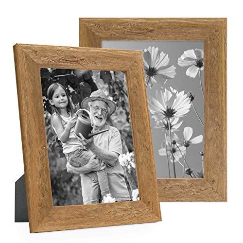 Photolini Set di 2 cornici per Foto 18x24 cm Sabbia Rustico Rovere Naturale in Legno Massiccio con lastra in Vetro e Accessori/portafoto