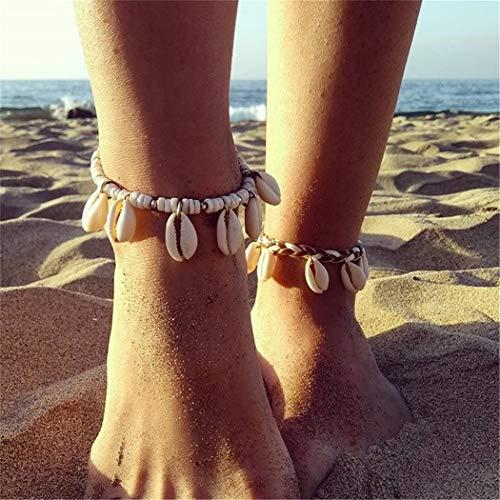 Eleusine Bracelet de Cheville de Pied de Gland de Femmes de Coquille de mer de mer (Style 1)