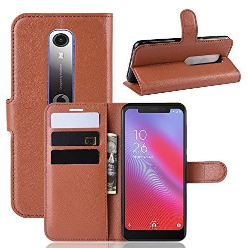 Tangyongjiao Accesorios para Celular Litchi Texture - Funda de Cuero con Tapa Horizontal for Vodafone Smart N10 / VFD 630, con Billetera y Soporte y Ranuras for Tarjetas (Color : Brown)