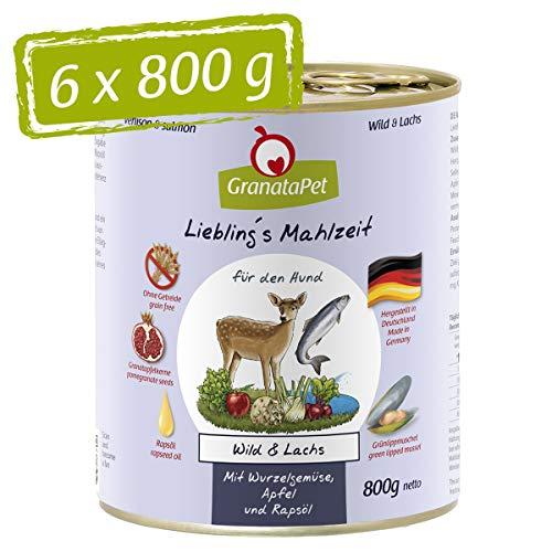 GranataPet Liebling's Mahlzeit Wild & Lachs, Nassfutter für Hunde, Hundefutter ohne Getreide & ohne Zuckerzusätze, Alleinfuttermittel, 6 x 800 g