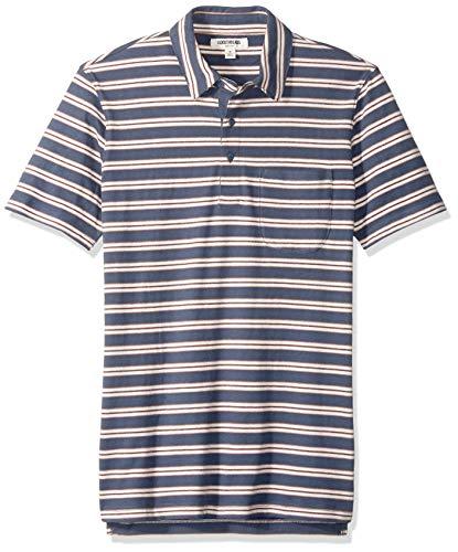 Amazon-Marke - Goodthreads Herren Poloshirt, kurzärmlig, aus Jersey in Wildlederoptik, Denim Retro Stripe, Large