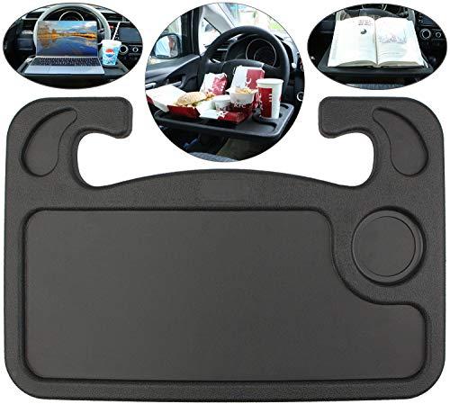 Toolwiz Universal Car Steering Wheel Tray Table, Two-Sided Design, Food and Laptop Holder, Car Mount, Portable Desk - Black