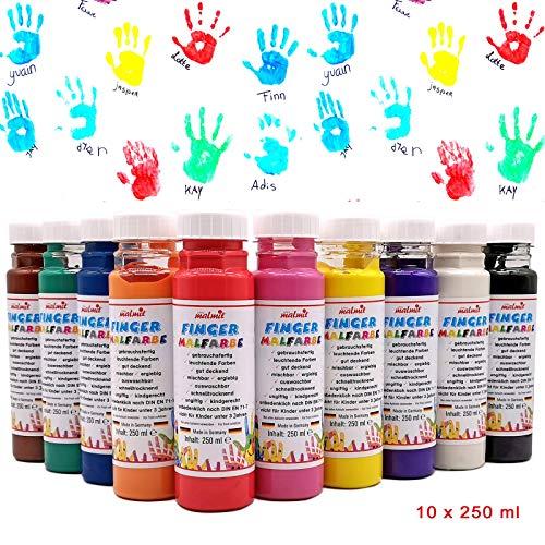 Fingermalfarbe 10er Set je 250ml Farbe Fingermalfarbe vom Hersteller € 6,20/L