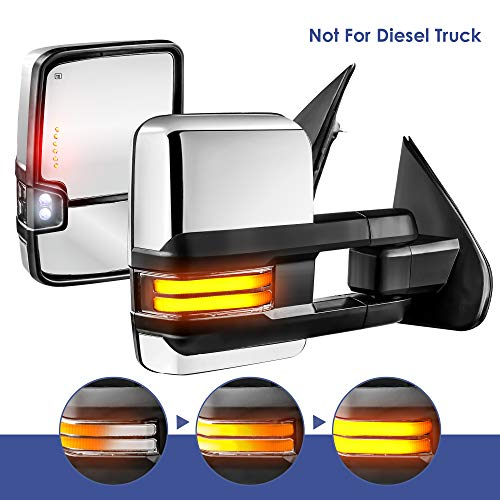 MOSTPLUS Power Heated Towing Mirrors Compatible for Chevy Silverado GMC Serria 2014-2018 w/Sequential Turn light, Parking Lamp, Running Light (Set of 2) Not for diesel truck (Chrome)