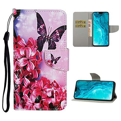Nadoli Brieftasche Etui für Xiaomi Redmi 9A,Rot Blumen Schmetterling Muster Bunt Pu Leder Lanyard Standfunktion Magnetisch Handyhülle Schutzhülle Lederhülle mit Kartenfach