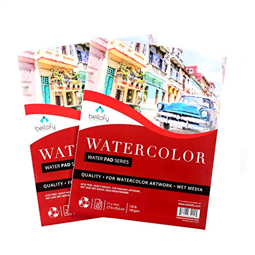 Bellofy 2 x Large Watercolor Paper Pad - 11x14 Inch with 20 Sheets/Pad | 130 lb 190g Cold Press Paper for Wet Media | Acid Free Large Art Paper for Painting & Drawing | Art Supplies for Adults
