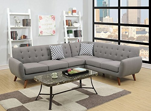 Poundex Bobkona Galiana Linen-Like Polyfabric SECTIONAL in Grey