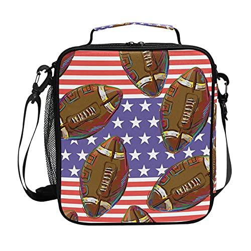 HaJie America - Bolsa de almuerzo con aislamiento de fútbol con soporte para botellas para mujeres, niños, niñas, hombres, trabajo, bolsa térmica para almuerzo