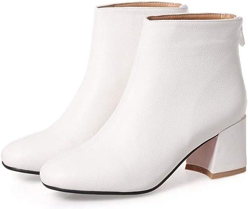 Stiefel de Moda para damen Stiefel de damen Farbe sólido Ladylike Thick Heel Ankle Stiefel Ladies Chelsea High Top Casual Riding Elasticated schuhe Tamaño schuhe de casa al Aire Libre