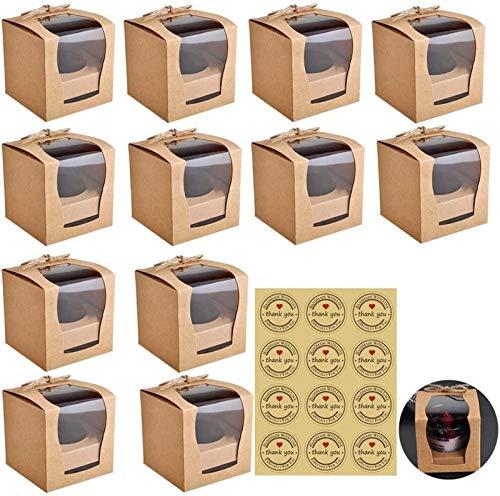 Kraftpapier Bäckereikästen mit PVC Windows Bäckerei Kuchen Kuchen Boxen Dessert Einweg-Takeout Container mit Aufkleber und Schnur for Bäckerei-Verpackungsparty Favor Packung 12 stücke geschenk paket b