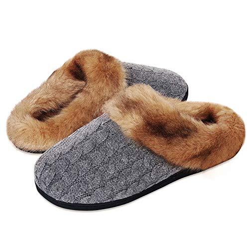 Damen Herren Hausschuhe Winter Memory Foam Pantoffeln Unisex Warm Plüsch und rutschfeste Indoor Bequem Slippers(Grau-K,42/43 EU)