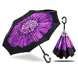 MRTLLOA Double Layer Inverted Umbrella with C-Shaped Handle, Anti-UV Waterproof Windproof Straight Umbrella for Car Rain Outdoor Use(Purple Flower)