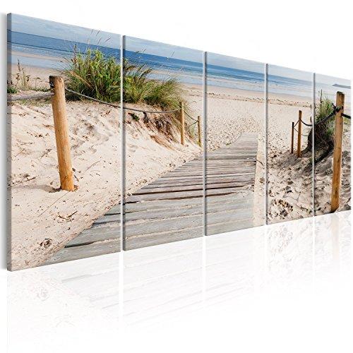 murando - Bilder Strand 150x60 cm Vlies Leinwandbild 5 TLG Kunstdruck modern Wandbilder XXL Wanddekoration Design Wand Bild - Landschaft Meer c-C-0178-b-m