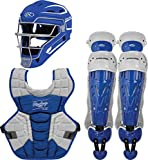 Rawlings Velo 2.0 Youth NOCSAE Baseball Protective Catcher's Gear Set, Royal and White