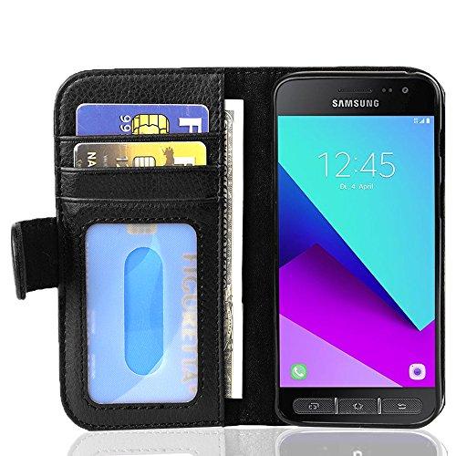 Cadorabo Hülle für Samsung Galaxy XCover 4 - Hülle in Oxid SCHWARZ – Handyhülle mit 3 Kartenfächern - Hülle Cover Schutzhülle Etui Tasche Book Klapp Style