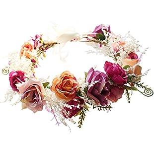 Brikuinr Womens Rose Flower Wreath Headband Boho Handmade Floral Hair Halo Garland Crown Headpiece with Ribbon Festival Wedding:Ukcustomizer
