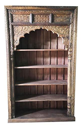 Rek van massief mango hout patroon 014 vintage bruin 245 cm hoog voor hal of slaapkamer | bruin staande kast zonder boren voor de badkamer | brede ruimteverdeler wandrek voor boeken CD DVD in de woonkamer