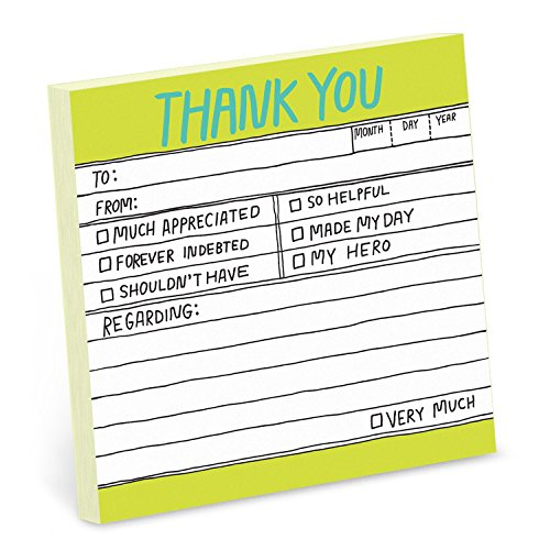 1-Count Knock Knock Thank You Hand-Lettered Sticky Notes, Thank You Notes, 3 x 3-inches