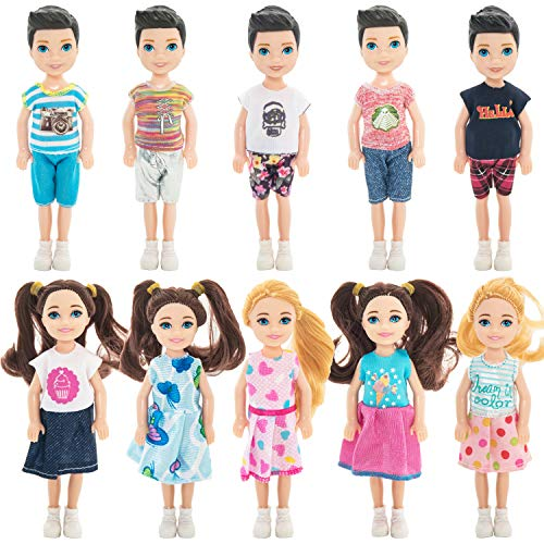 ONEST 10 Sets 5 Inch Dolls Include 10 Pieces Boy and Girl Mini Dolls, 10 Sets Handmade Doll Clothes, 10 Pairs of Doll Shoes