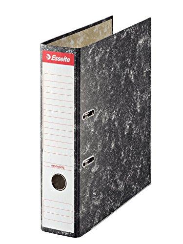 ESSELTE 46958 - Archivador de palanca cartón jaspeado con rado y cantonera DIN A4. Lomo 75 mm color negro