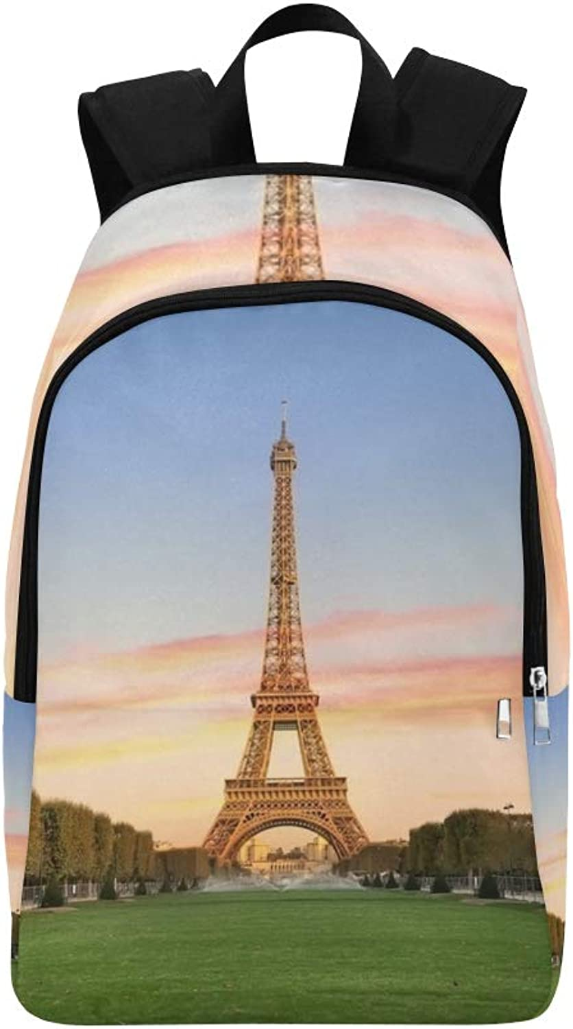 Eiffel Tower On Champs De Mars Casual Daypack Travel Bag College School Backpack for Mens and Women